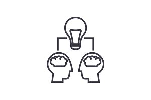 brainstorm illustration, heads with lamp vector line icon, sign, illustration on background, editable strokes