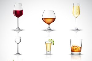 Alcohol drinks decorative icons set