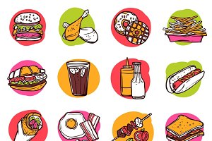 Fast junk food hand drawn icon set