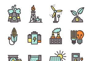 Energy manufacturing icons set