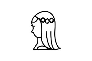 bride vector line icon, sign, illustration on background, editable strokes