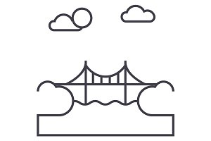 bridge illustration vector line icon, sign, illustration on background, editable strokes