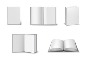 Set of 3d open and closed books