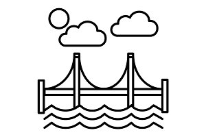 bridge,san francisco vector line icon, sign, illustration on background, editable strokes