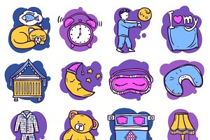 Sleep time hand drawn icons set