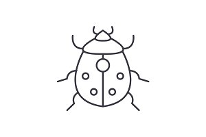 bug vector line icon, sign, illustration on background, editable strokes