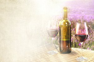 Romantic Lavander and Wine Collage