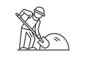 builder working with shovel vector line icon, sign, illustration on background, editable strokes
