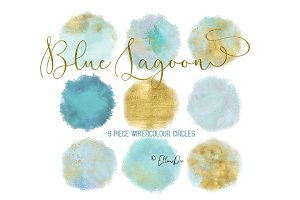 Blue Lagoon Watercolor Circles