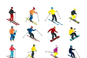 Skiing and snowboarding set