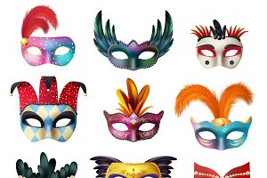 Carnival face masks collection