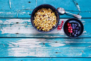 Muesli in bowl
