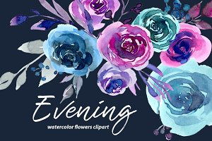 Evening watercolor roses 33 png