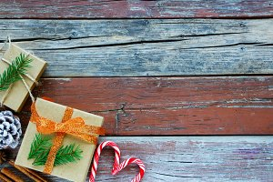 Wooden background with Christmas Box