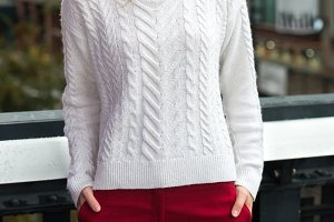 female white knitted sweater pant