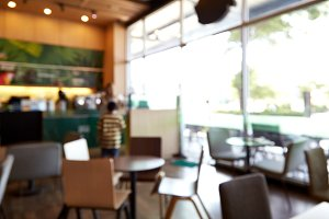 Blur coffee shop restaurant with abstract light image background