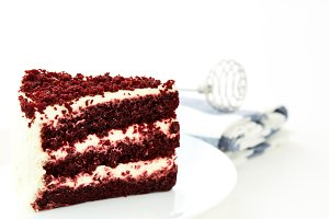 Red velvet cakes isolated on white background