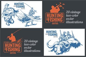20 Hunting and fishing old posters