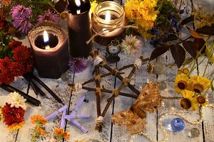 Pentagram and black candles