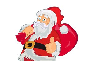 Santa Claus with bag, vector