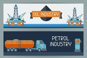 Oil industrial banners design.