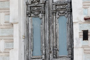 Old grey vintage double-leaf door