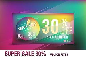 Super sale 30% offer. Flyer template