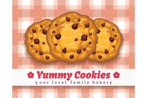 Retro choco chip cookie poster