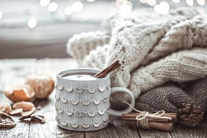 a cozy Christmas tea Cup still life