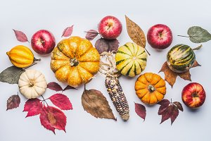 Pumpkins, apples and fall leaves