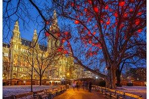 Vienna town hall at christmastime