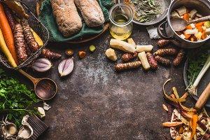 Various root vegetables cooking