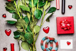 Valentines day flat lay in red color
