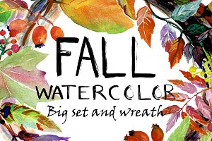 Watercolor fall leaves and wreath