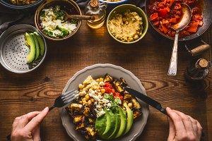 Eating healthy vegetarian meal