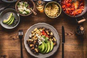 Healthy vegetarian meal on plate