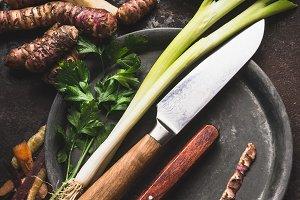 Root vegetables cooking preparation