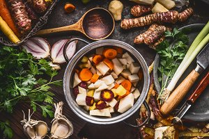 Vegetables stew or soup cooking