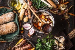 Root vegetables cooking, rustic