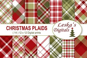 Christmas Plaids Digital Paper Pack