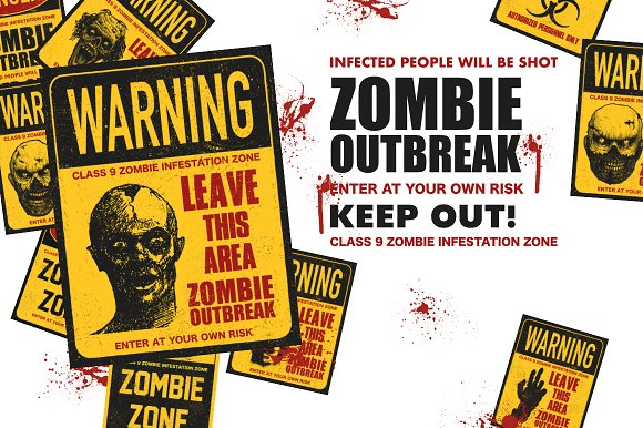 Sign board with zombie. Vector set in Graphics - product preview 3