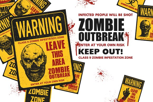 Sign board with zombie. Vector set in Graphics - product preview 4