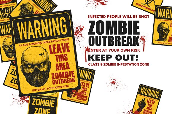 Sign board with zombie. Vector set in Graphics - product preview 6