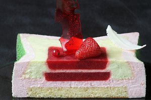 Strawberry Basil Lime Mousse Cake