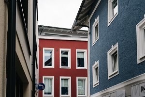 Low angle view of colorful residential buildings