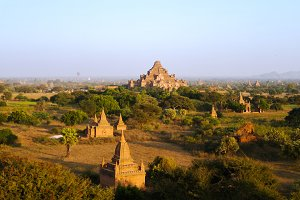 Aerial view to Bagan at sunset Myanmar