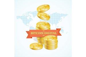 Bitcoins Digital Concept