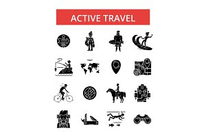 Active travel illustration, thin line icons, linear flat signs, vector symbols, outline pictograms set, editable strokes