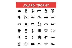 Award, trophy illustration, thin line icons, linear flat signs, vector symbols, outline pictograms set, editable strokes