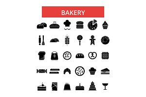 Bakery illustration, thin line icons, linear flat signs, vector symbols, outline pictograms set, editable strokes